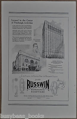 1928 Russell & Erwin Co. advertisement, Russwin hardware, Pittsburgh buildings
