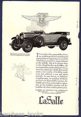 1927 CADILLAC advertisement, Cadillac LaSalle, top folded down