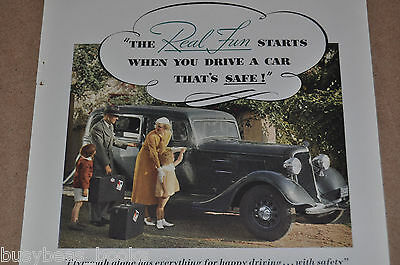 1934 Plymouth advertisement, PLYMOUTH sedan COLOR photo, young family trip