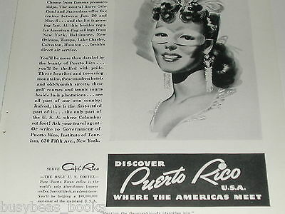 1940 Puerto Rico Tourism ad, native lady, masquerade
