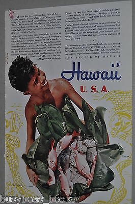 1940 Hawaii tourism advertisement, Toni Frissell photo, Native boy with fish