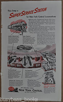 1945 NEW YORK CENTRAL RR advertisement, NYC, Roundhouse, locomotive servicing
