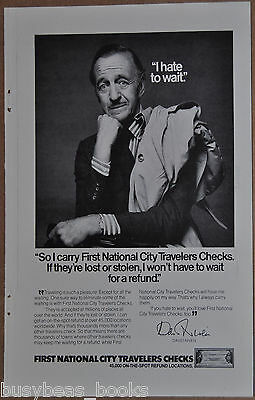 1976 First National City advertisement, David Niven, Travelers Checks