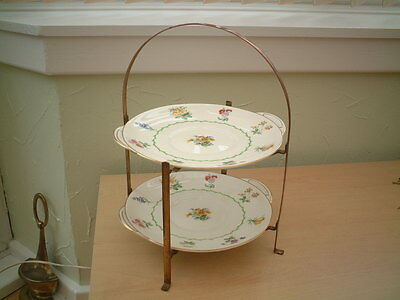 Arts & Crafts Folding Copper / Brass 2 Tier Cake Stand.
