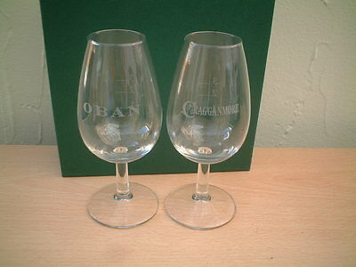 Boxed Pair of Malt Whisky Glasses. Oban & Cragganmore.