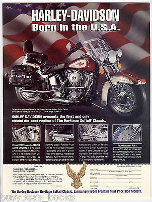 1992 Franklin Mint advertisement, Harley Davidson Heritage Softail Classic model