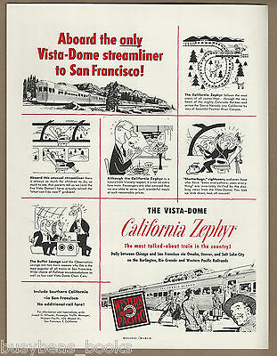 1952 WESTERN PACIFIC RR advertisement, Vista Dome California Zephyr streamliner