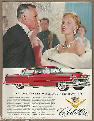 1954 CADILLAC Sixty Special advertisement, large red Sedan, fancy dressed people
