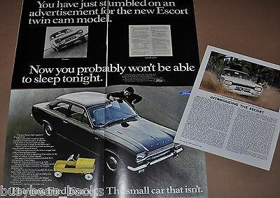 1968 BRITISH Ford ESCORT advertisements x2, + article, British adverts