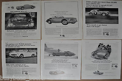 1963-66 AUSTIN HEALEY advertisements x6, British adverts, Sprite & 3000 BMC
