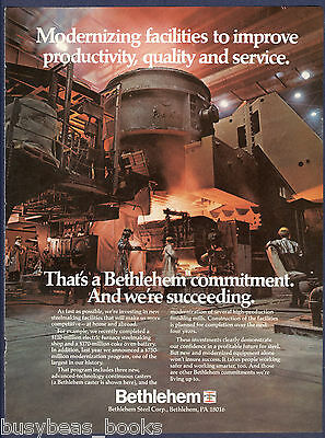 1982 BETHLEHEM STEEL advertisement, steel mill continuous caster