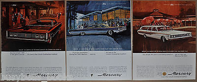 1965 MERCURY advertisements x3, Mercury Monterey, Park Lane Montclair, wagon