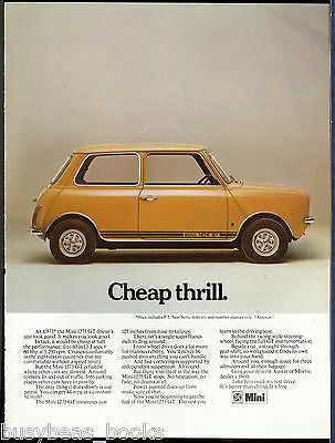 1972 MINI 1275 GT advertisement, British Leyland, Austin Morris British advert