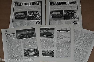 1966 BMW 1800 Ti advertisements x2, + review article, from British magazine