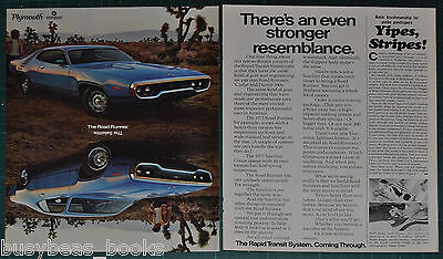 1972 Plymouth ROAD RUNNER, SATELLITE 2-page advertisement, dual photo