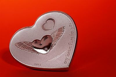 """MY HEART FLIES FOR YOU"" Valentines Day .999 Fine Silver Coin - Palau $2"