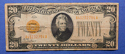 1928 $20 Gold Certificate w/ Gold Seal. Great Price!