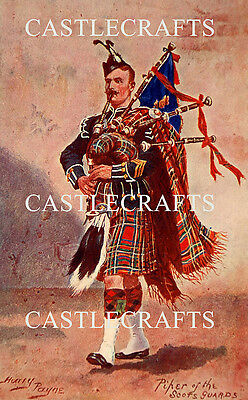 Scots Guards Piper By Harry Payne - A4 Colour Picture