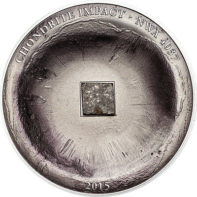 2015 CHONDRITE METEORITE METEOR Silver Coin 5$ Cook Islands RARE