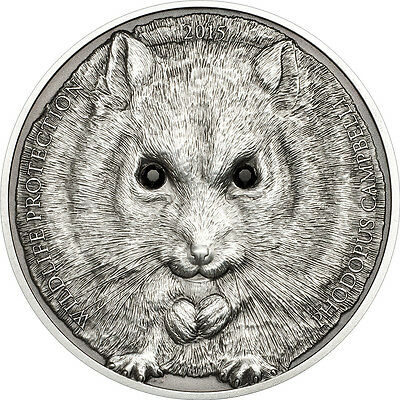 2015 MONGOLIA WILDLIFE - CAMPBELL'S HAMSTER 1 oz silver coin, 500 Togrog