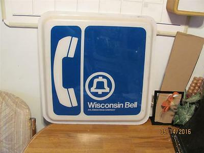 Rare  Vintage Wisconsin Bell Telephone Co. Plastic Panel Sign-Used-Man Cave