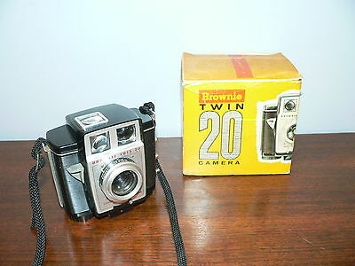 Vintage Kodak Brownie Twin 20 (620 Film) Camera w/Original Box