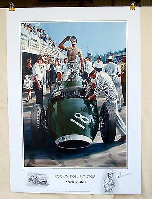 "Stirling Moss 1957 Italian GP ""Rock'n Roll Pit Stop"" Vanwall LE Print REDUCED!"