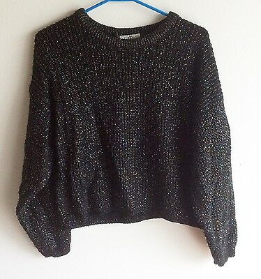Vintage Ladies 1980's Spring Seasons Black Sparkly Knit Sweater, Size Small
