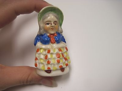 "Colorful 2 ¾"" Colonial Woman w Bonnet Porcelain Salt Pepper Shaker Marked Japan"