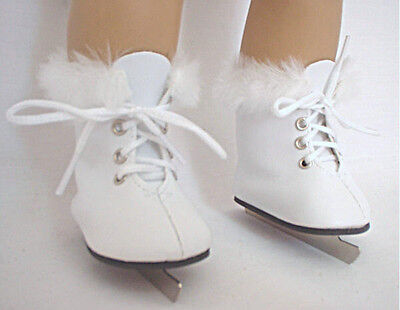 "Lovvbugg White Furry Fur Ice Skates for 18"" American Girl Doll Clothes n Shoes"