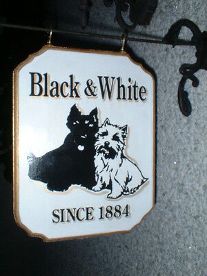 The Black And White Whiskey  Wooden Pub Sign Scottie Dog ,westie