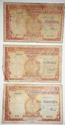 LOT of 3 x BANK NOTES - 10 PIASTRES - 1953 French Indochina - VIETNAM, LAOS 2809