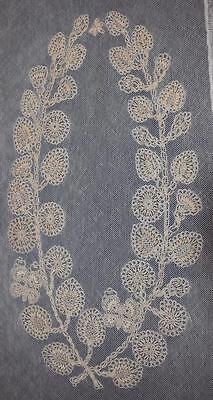 LOVELY VINTAGE ELABORATE HAND TATTED on NET TABLE RUNNER ANTIQUE TATTING WORK