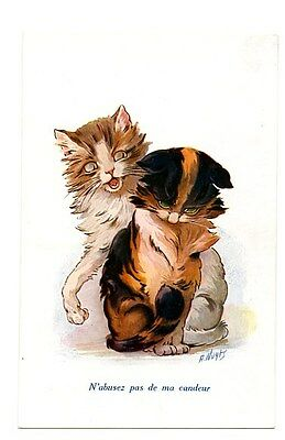 Wuyts vintage cat postcard lovely pair ginger & calico cats