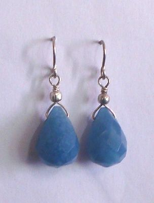 STERLING SILVER & BLUE QUARTZ EAR RINGS REIKI CRYSTAL DUMORTIERITE  Healing