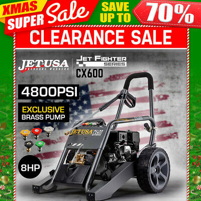 NEW Jet-USA Cleaner 4800 PSI High Pressure Washer Petrol Water Hose Pump Gurney