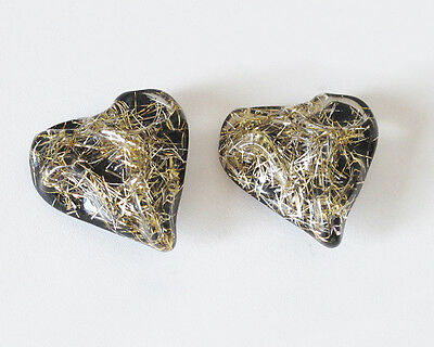 Vintage Lucite clip on Earrings huge carved heart gold thread inclusions