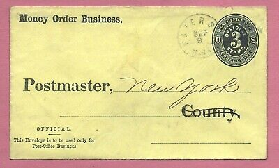 1880's 3C Official Stationery Upss Pd6 Money Order Business Paterson Nj Cancel