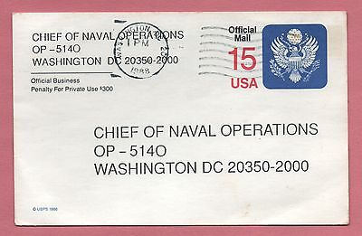1988 Official Postal Card # Uz4 Used Chief Of Naval Operations Wash Dc Chancel