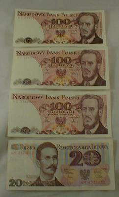 Lot Of 4 Currency Notes Poland Polski Paper Money 100 & 20
