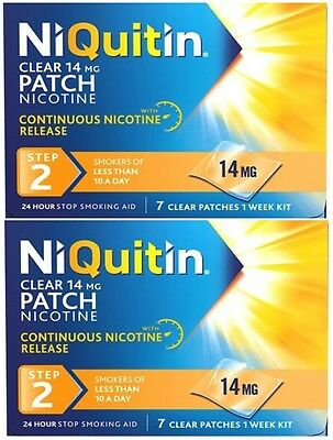 NiQuitin Clear 14mg Nicotine Patch (Step 2) 14 Patches - 2 Week Kit (EXP04/2017)