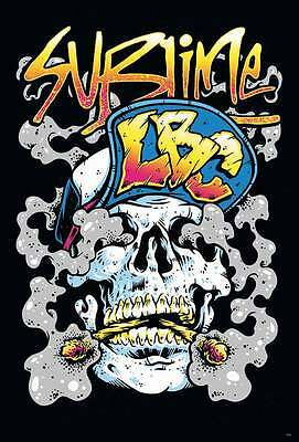 """SUBLIME """"LBC"""" POSTER FROM ASIA - Skull Smoking 2 Joints Wearing LBC Baseball Hat"""