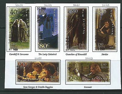 New Zealand 2001 Lord Of The Rings  Set Of 6 Fine Used