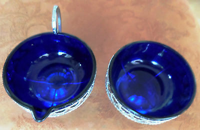 Vintage Colbalt Blue Sugar Bowl & Cream Jug complete with Metal Holders