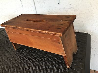 Vintage Hand Crafted ARTS & CRAFTS Utility Step Stool/ Bench ~ Open Carry Handle