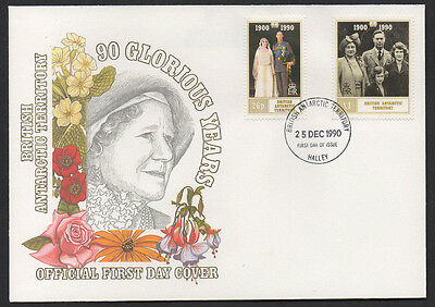 """1990, B.T.A """"Queen Mother 90 Years"""" illustrated unaddressed FDC."""
