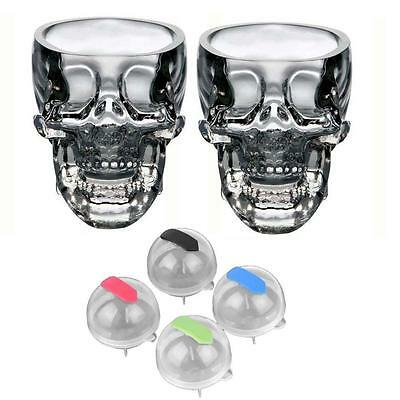 2pcs Clear Crystal Whiskey Red Wine Skull Head Glass Cup + 4pc Ice Brick Mold TS