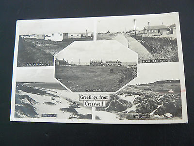 Real Photo RP Postcard - Greetings from Cresswell - Caravan Site - The Links