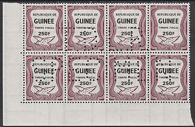 Guinea (2372) - 1987 DOVE REVENUE  block with DLR SPECIMEN perfin unmounted mint