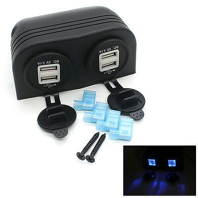12V 3.1A Car Truck Boat Accessory Dual USB Charger Power Adapter Outlet New